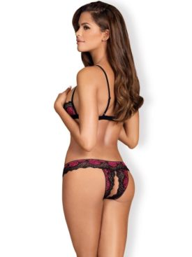 OBSESSIVE - TULIA CUPLESS BRA AND CROTHLESS THONG S/M